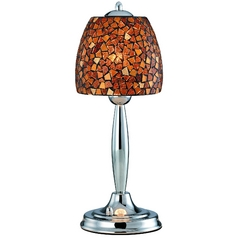 Table Lamp with Amber Glass in Polished Steel Finish
