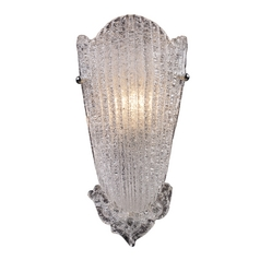 Sconce Wall Light with Clear Glass in Antique Silver Leaf Finish