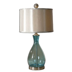 Modern Table Lamp with Silver Shade in Clear Blue Finish