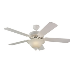 Ceiling Fan with Light with White Glass in White Finish