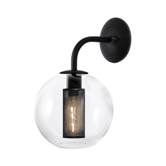 Modern Sconce Wall Light with Clear Glass in Textured Black Finish