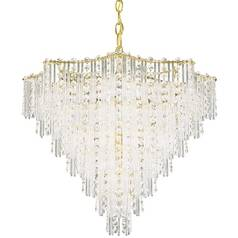Schonbek Multi-Tier 11-Light Crystal Chandelier in Satin Silver