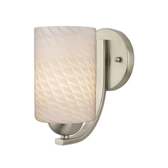Satin Nickel Wall Sconce with White Art Glass Cylinder Shade