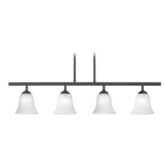 Modern Black Linear Pendant Light with Alabaster Glass 4 Lt