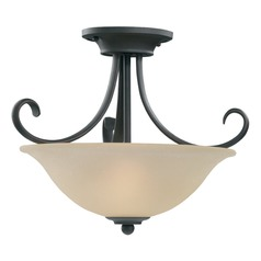 Seeded Acid Etched Glass LED Semi-Flushmount Light Bronze Sea Gull Lighting