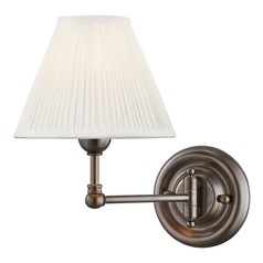 Hudson Valley Distressed Bronze Swing Arm Lamp with Off White Silk Shade