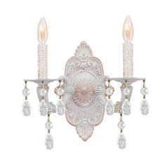 Crystal Sconce Wall Light in Antique White Finish