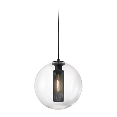 Modern Pendant Light with Clear Glass in Textured Black Finish