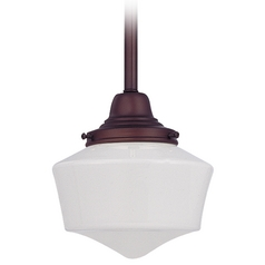 Design Classics Lighting 6-Inch Schoolhouse Mini-Pendant Light in Bronze Finish FC3-220 / GF6