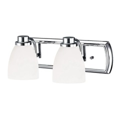 2-Light Bathroom Light in Chrome with White Bell Glass