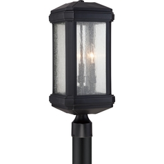 Seeded Glass Post Light Black Quoizel Lighting