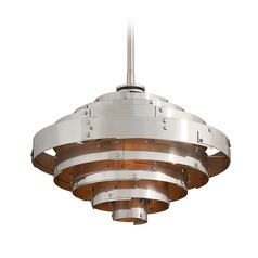 Troy Lighting Mitchel Field Aluminum / Silver Leaf LED Pendant Light with Drum Shade