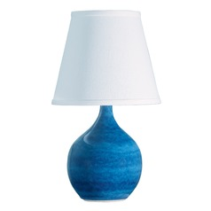 House Of Troy Scatchard Blue Gloss Table Lamp with Empire Shade