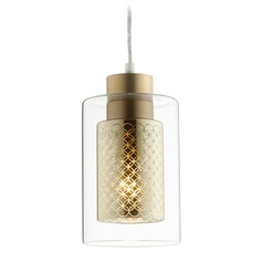 Quorum Lighting Signature Aged Brass Mini-Pendant Light with Cylindrical Shade
