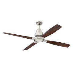 Craftmade Lighting Ricasso Brushed Polished Nickel LED Ceiling Fan with Light