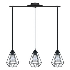 Eglo Tarbes Matte Black Multi-Light Pendant with Bowl / Dome Shade