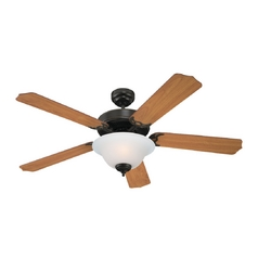 Ceiling Fan with Light with White Glass in Heirloom Bronze Finish