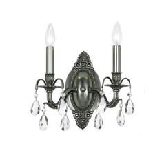 Crystal Sconce Wall Light in Pewter Finish