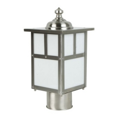 Mission Style Post Light with White Glass in Stainless Steel Finish