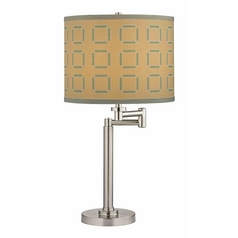 Swing Arm Table Lamp with Tan and Turquoise Lamp Shade