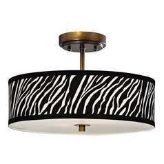 Zebra Ceiling Light with Drum Shade in Bronze - 16 Inches Wide