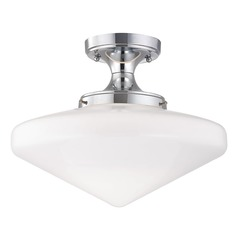 Chrome Schoolhouse Ceiling Light with White Glass - 14-Inches Wide