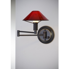 Holtkoetter Modern Swing Arm Lamp with Red Glass in Hand-Brushed Old Bronze Finish