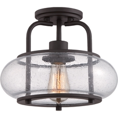 Seeded Glass Semi-Flushmount Light Bronze Quoizel Lighting