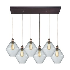 Raindrop Glass Brass / Oil Rubbed Bronze Multi-Light Pendant with 6 Lights