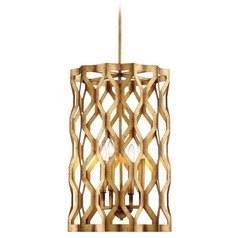 Coronade Pandora Gold Leaf Pendant Light with Cylindrical Shade