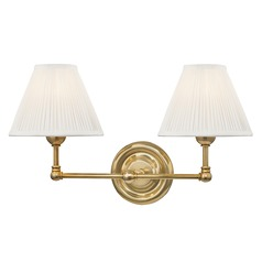 Hudson Valley Aged Brass Sconce with Off White Silk Shade