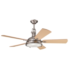 Kichler Ceiling Fan with Light in Brushed Stainless Steel Finish