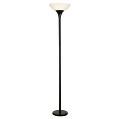 Adesso Home Lighting Modern Torchiere Lamp with White in Black Finish 5025-01