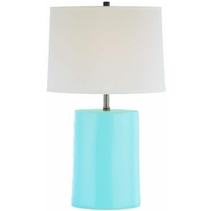 Lite Source Lighting Jayvon Light Blue Table Lamp with Bell Shade