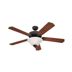 Ceiling Fan with Light with White Glass in Misted Bronze Finish