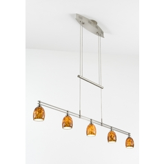 Holtkoetter Modern Low Voltage Pendant Light with Amber Glass in Satin Nickel Finish