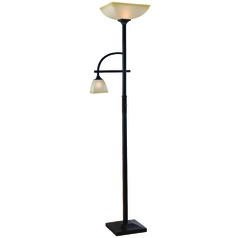 Kenroy Home Lighting Arch Oil Rubbed Bronze Torchiere Lamp with Square Shade