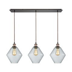 Raindrop Glass Brass / Oil Rubbed Bronze Multi-Light Pendant with Oblong Shade