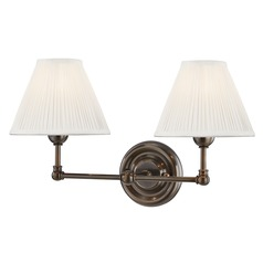 Hudson Valley Distressed Bronze Sconce with Off White Silk Shade