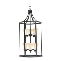 Pendant Light with Beige / Cream Glass in Blacksmith Finish