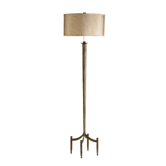 Floor Lamp with Brown Shade in Dark Bronze Finish