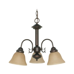 Mini-Chandelier with Beige / Cream Glass in Mahogany Bronze Finish