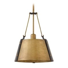 Industrial Rustic Brass Pendant Light by Hinkley Lighting