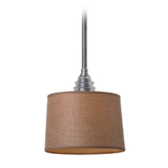 LED Mini Pendant Light With Brown Shade