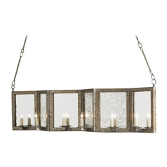 Currey and Company Lighting Dirty Silver / Antique Mirror Island Light