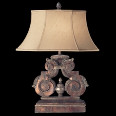 Fine Art Lamps Stile Bellagio Tortoised Leather Crackle with Stained Silver Leaf Accents Table Lamp