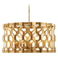 Coronade Pandora Gold Leaf Pendant Light with Drum Shade