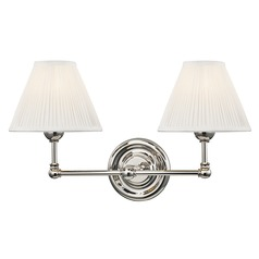 Hudson Valley Polished Nickel Sconce with Off White Silk Shade
