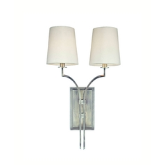 Sconce Wall Light with White Shades in Antique Nickel Finish