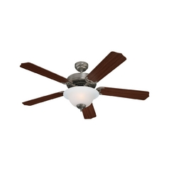 Ceiling Fan with Light with White Glass in Brushed Nickel Finish